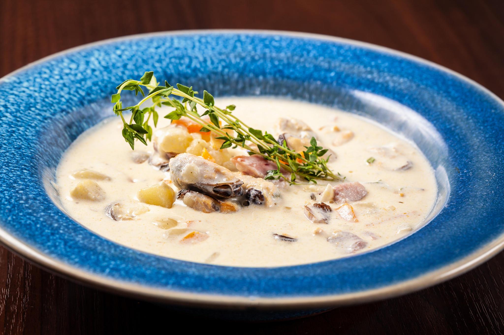 Суп из мидий с копченой грудинкой