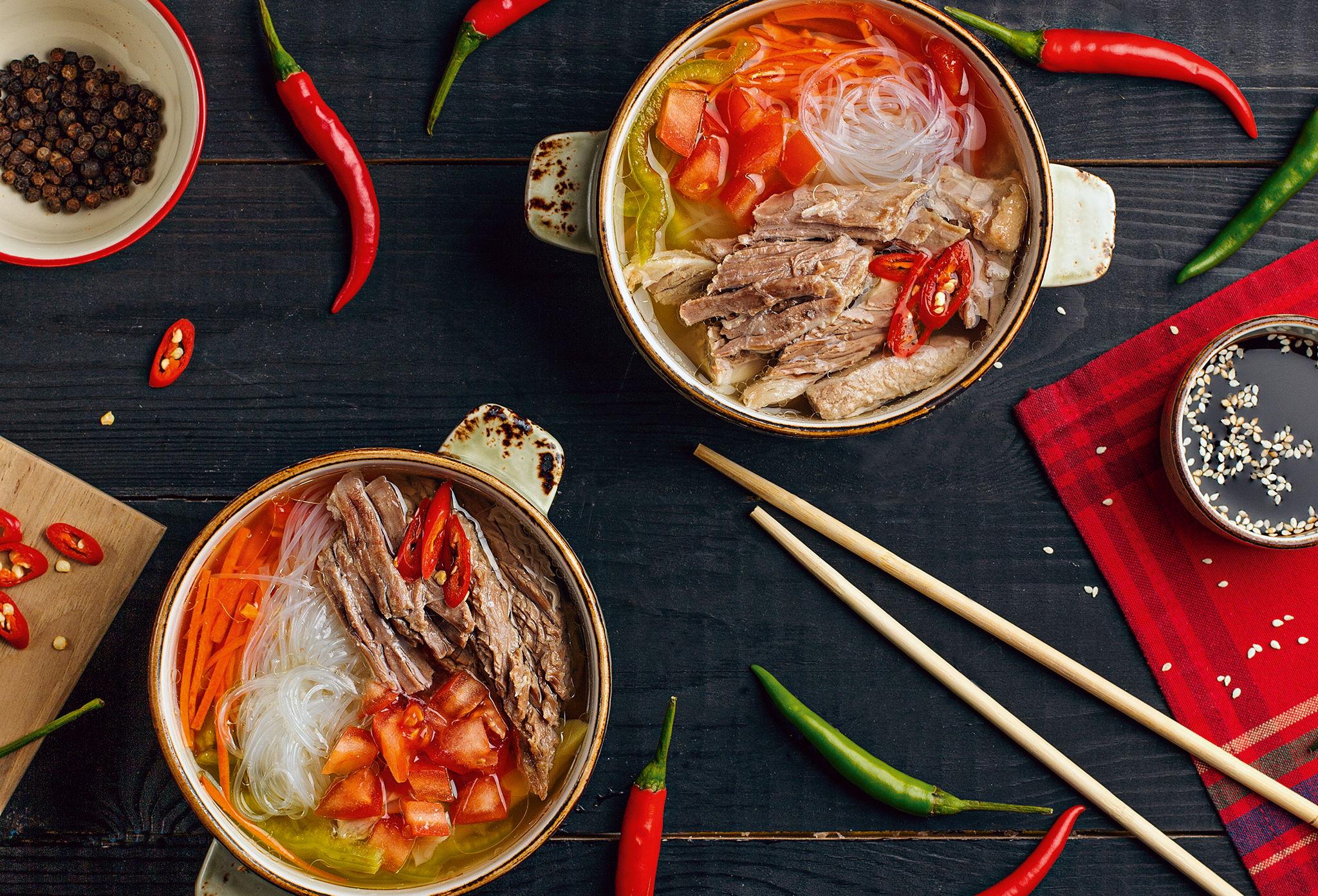 Китайский суп с фунчозой