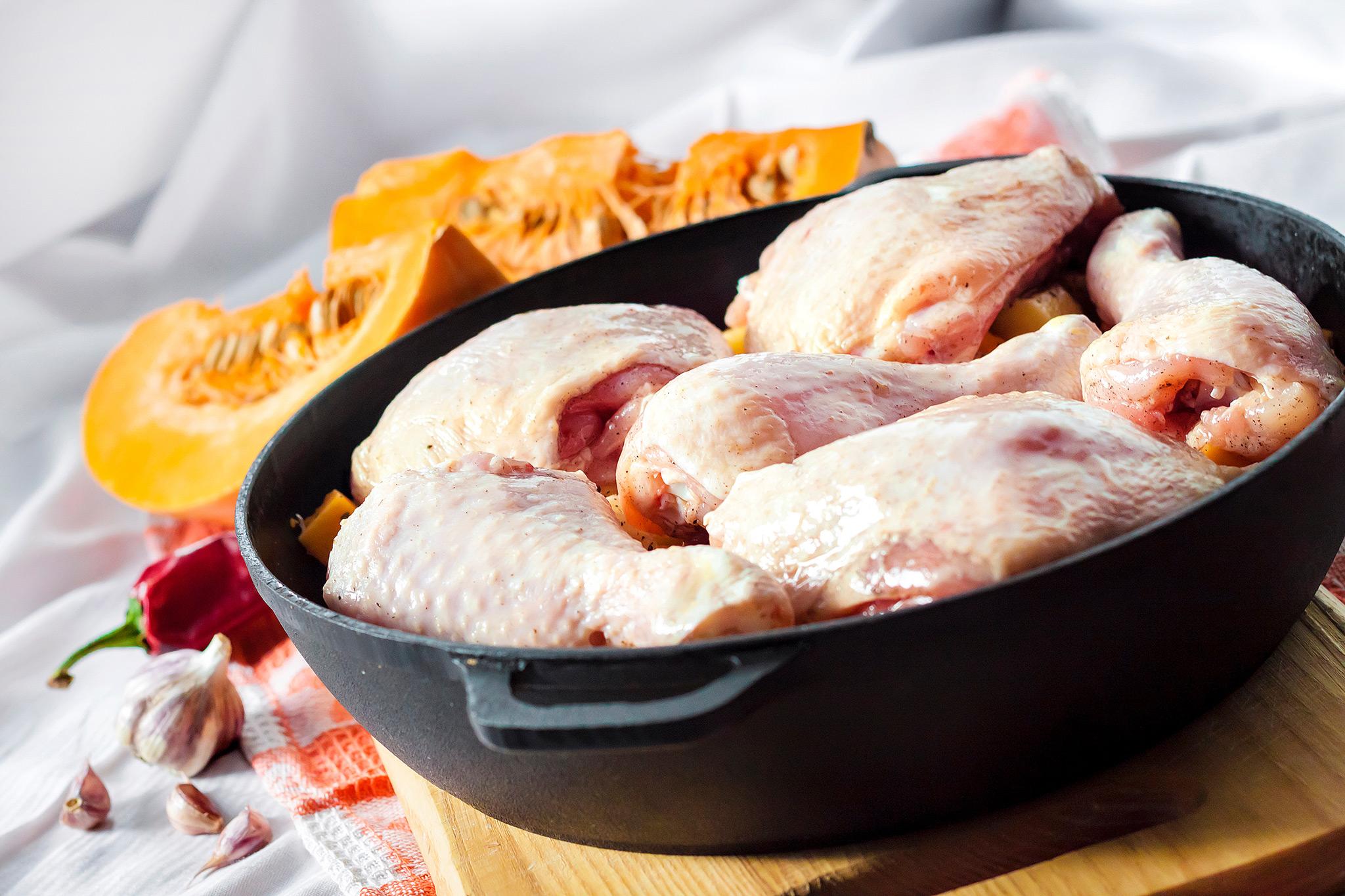 Рагу из курицы с тыквой и корнем сельдерея