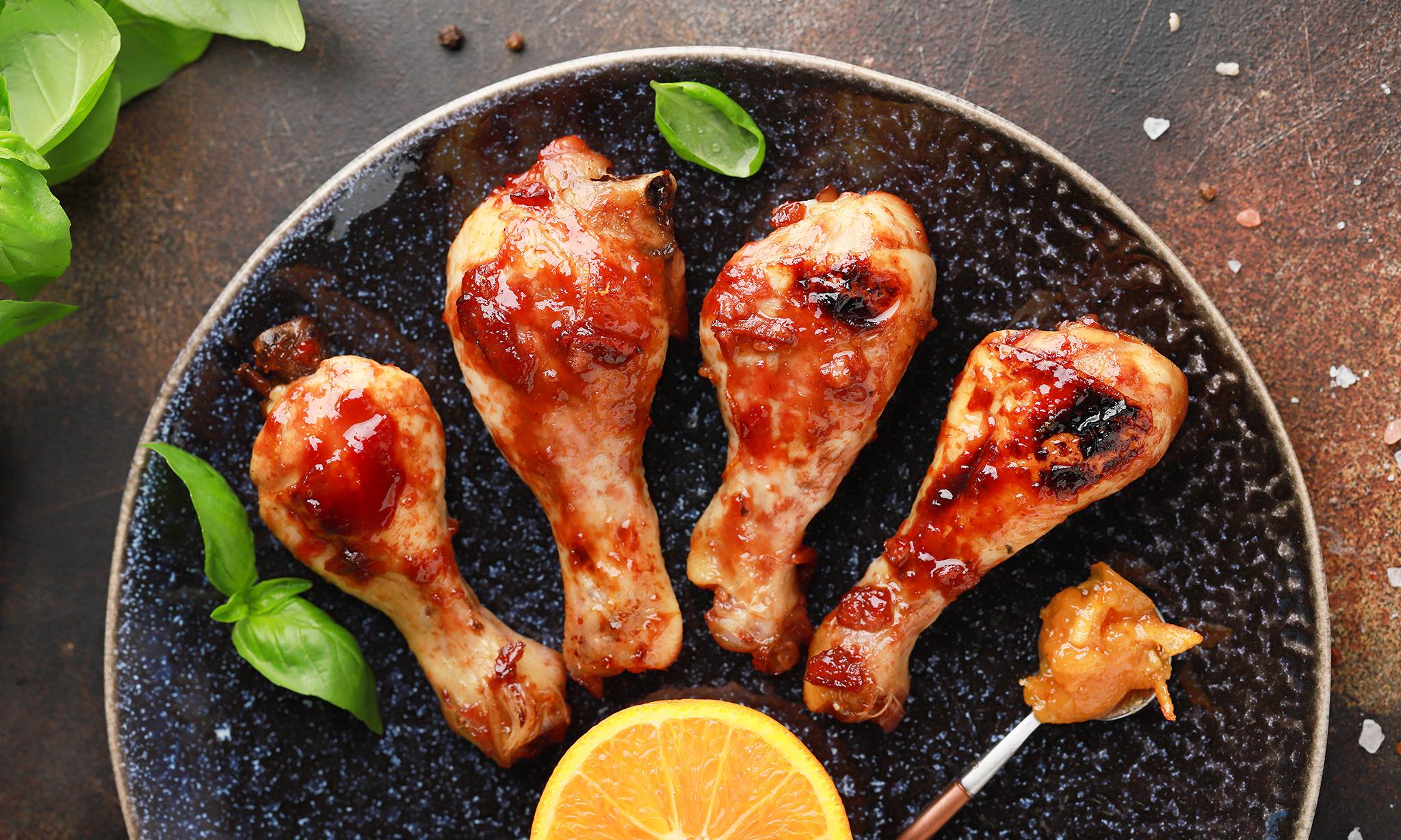 Куриные голени с апельсиновым мармеладом
