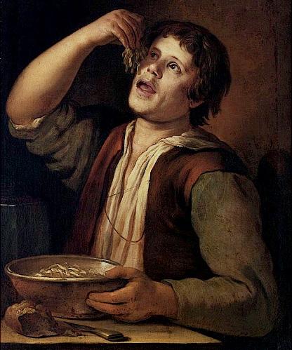 Vermeer van Utrecht Man eating noodels